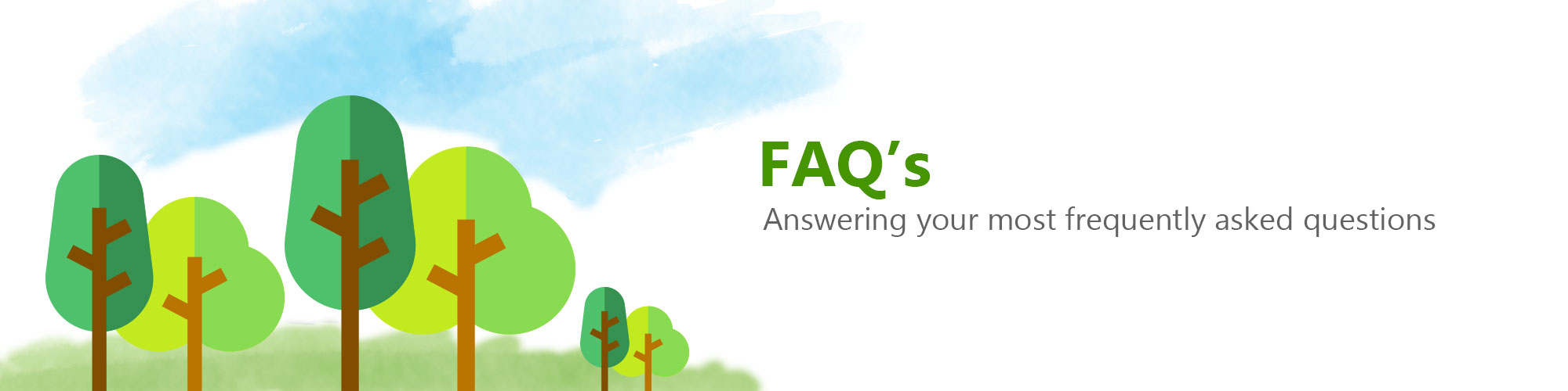 tree surgeon faq banner picture of cartoon trees
