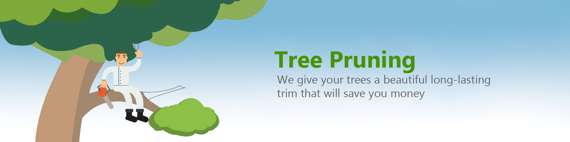 Tree pruning services in london photo of cartoon man pruning tree branches